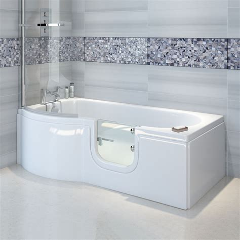 1675 shower bath bathe easy p shape walk in shower bath 1675 x 850 right