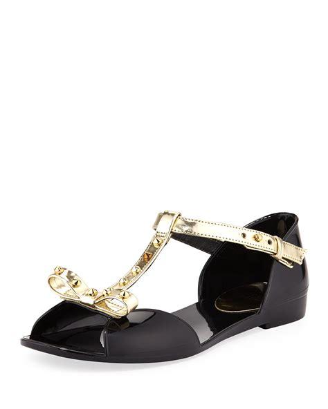 stuart weitzman jelly sandals stuart weitzman golden stud jelly sandal blackgolden in
