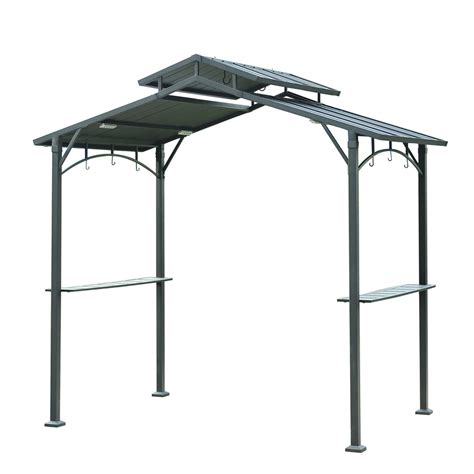 black gazebo shop sunjoy matt black metal rectangle grill gazebo