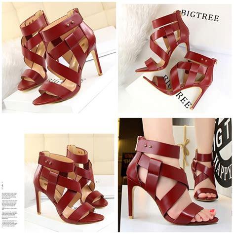 Sepatu Heel Cantik jual shh8181 wine sepatu heels cantik 9 5cm grosirimpor