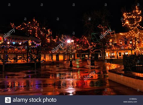 downtown santa fe in winter holiday lights in the plaza