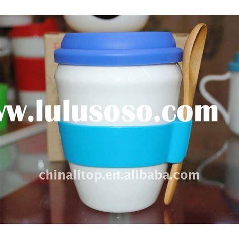 Set Printed Glass Mug Spoon Lid coffee cup silicone lid coffee cup silicone lid