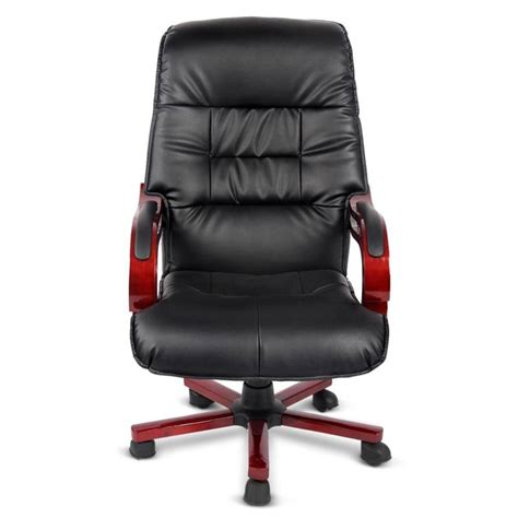 black leather and wood office chairs wood vintage office chair in black pu leather buy
