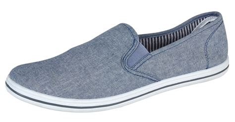 mens canvas slip on pumps plimsolls deck shoes black navy