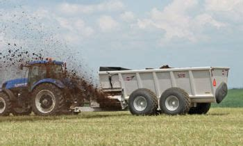 rear and side discharge manure spreaders to distribute