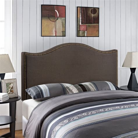 brown upholstered headboard curl dark brown queen nailhead upholstered headboard from