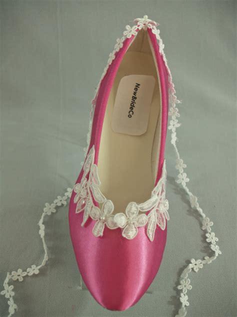 fuschia flat wedding shoes flat wedding shoes 200 colors or pink white by newbrideco
