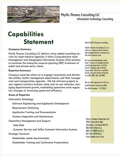 Capability Statement Template Word 3 Popular Sles Templates Capability Statement Template Word