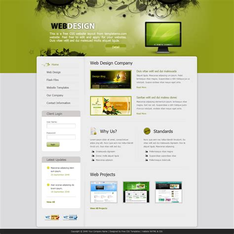 free layout of website template 243 web design