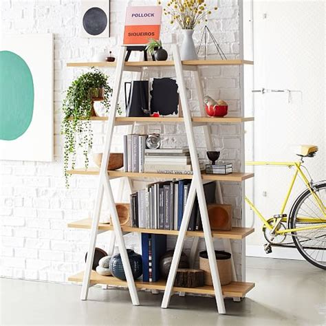 shelf ladder bookcase ladder bookshelf west elm