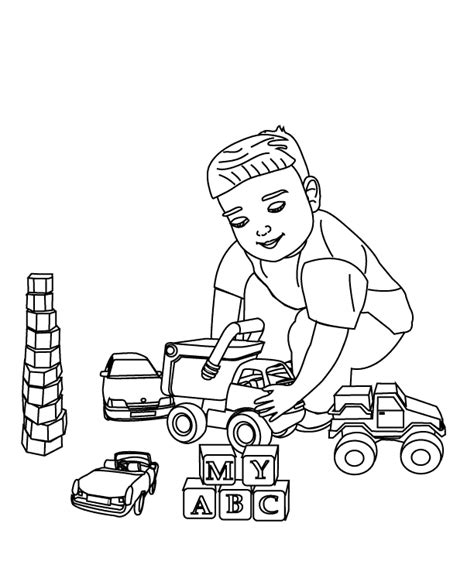 coloring pages playing with toys