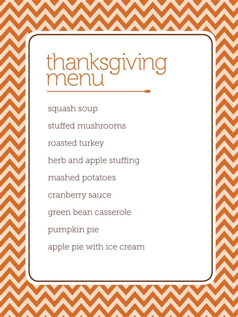 Thanksgiving Menu Template Printable customizable thanksgiving menus hgtv