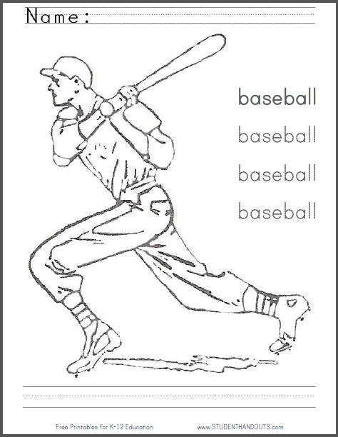 baseball coloring page pdf baseball coloring sheet with writing practice free to