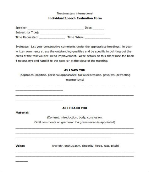 best speech template toastmaster evaluation template 20 free word pdf