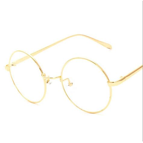 new korean retro gold eyeglass frame thin metal
