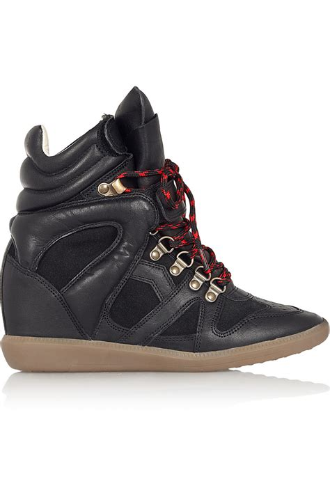 marant wedge sneakers lyst marant 201 toile buck leather and suede wedge