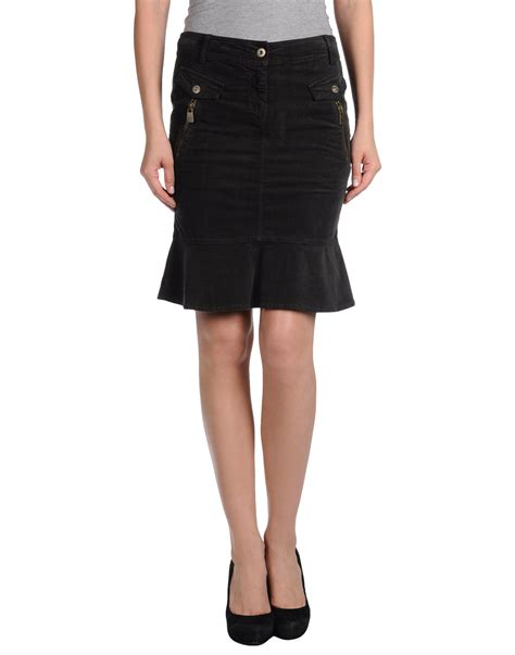 armani knee length skirt in black steel grey lyst