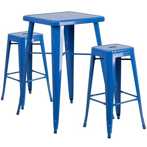 metal bar table set metal 3 bar table set in blue ch 31330b 2 30sq bl gg