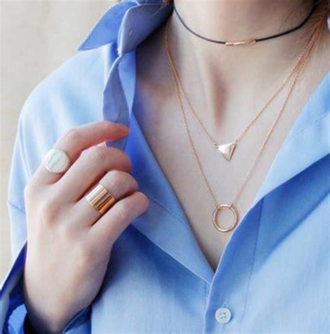 Kalung Choker Korea Choker Shape Simple the new korean simple three layer triangular ring necklace on luulla