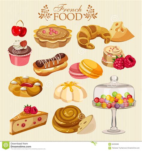 o fr cuisine sistema vector de cocina francesa comida nacional de