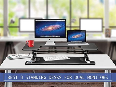 3 monitor standing desk best adjustable standing desk converters for dual monitors