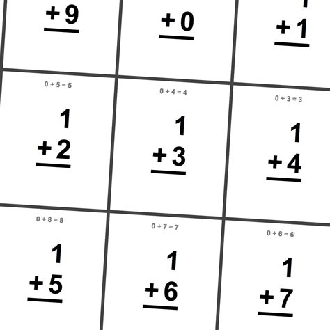 printable math flashcards addition 6 best images of printable math digit cards free