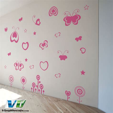 flowers and butterflies wall stickers vinyldecals hearts flowers and butterflies wall decal