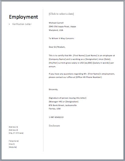 Proof Of Employment Letter Free Sle Letters Proof Of Employment Letter Template Word