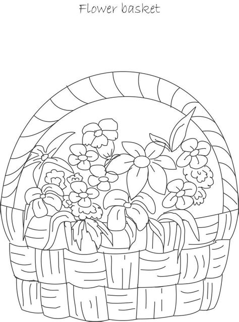 coloring pages of flower baskets flower basket coloring page coloring home