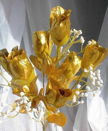 84 GOLD Silk Roses Buds Wedding Bouquet Flowers 50th