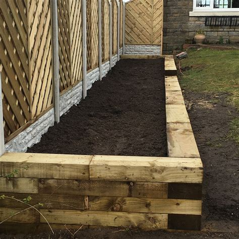Railway Sleepers Lancashire by Raised Flower Beds From Railway Sleepers Westcoast Fencing