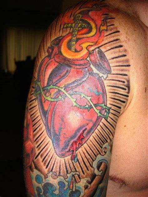 tattoo arm heart heart half sleeve tattoo