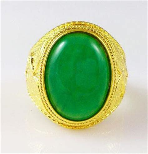K Gold Filled Mens Ring China Green Jade High End