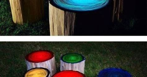 glow in the painted logs diy glow in the log stools crafts log