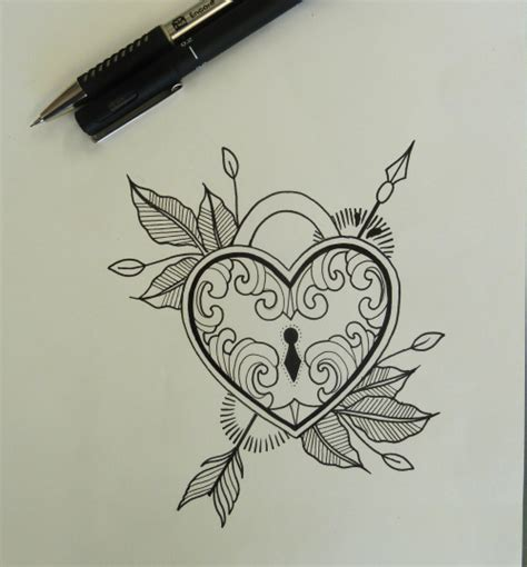 tattoo pen canada heart locket drawn for my cousin in canada tumblr drawings