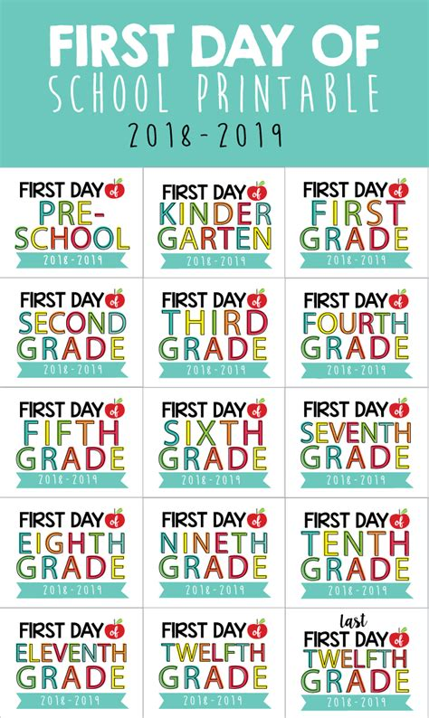 Day Of School Printables 2018