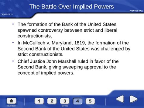 the implied powers chapter 11 section 4 powers of congress