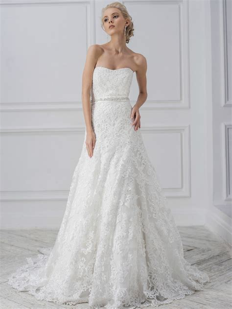 White Lace M L Xl Dress 31834 white lace strapless wedding dress bridal gown s m l