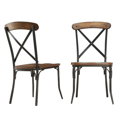 Wood And Metal Dining Chair Homesullivan Cabela Bistro Wood And Metal Dining Chair In Distressed Ash Set Of 2 405099s2pc