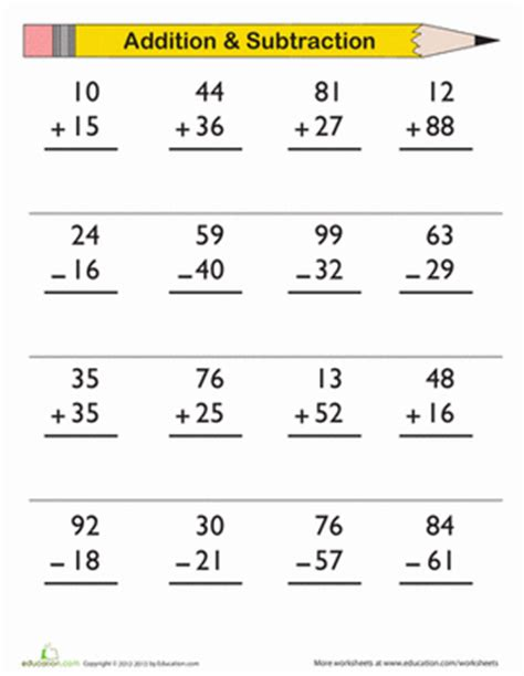 Third Grade Addition And Subtraction Worksheets by Digit Addition And Subtraction Worksheet