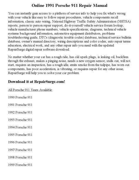 how to download repair manuals 1988 porsche 911 lane departure warning 1991 porsche 911 repair manual online by precious pim issuu