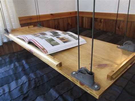 Ceiling Table by Paracord And Pulley Hanging Table