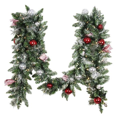 best xmas lighted garlands 100ft home accents 12 ft battery operated frosted mercury artificial garland with 100 clear