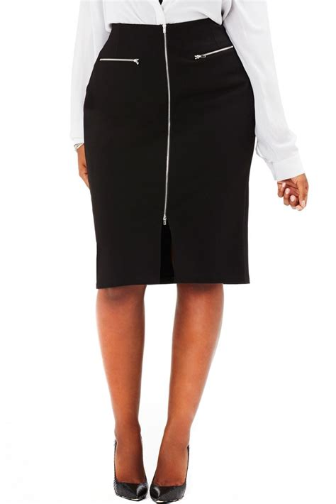 plus size high waist zippered pencil skirt in black mynt
