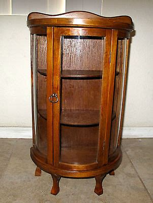 Antique 23 Wood Curved Bowed Glass Curio Cabinet Display Case   What's it worth