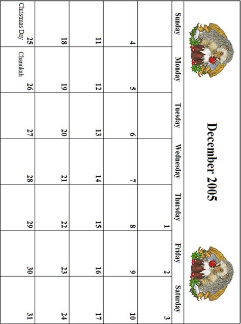 December 2005 Calendar 2005 December Calendar