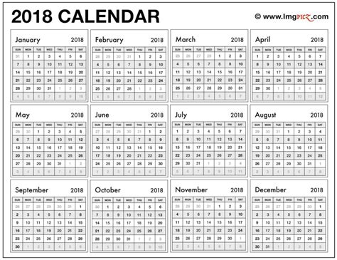 printable calendar year on one page 2018 calendar one page 2018 calendar printable free 011