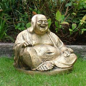 Garden Ornaments Garden Ornaments Gold Laughing Buddha Statue Sculpture Ebay