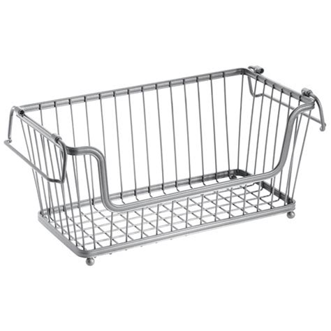 Wire Pantry Baskets by York Stackable Open Front Pantry Basket Chrome In Wire