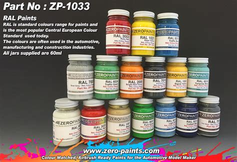 ral paints european standard colour range 60ml zp 1033 zero paints